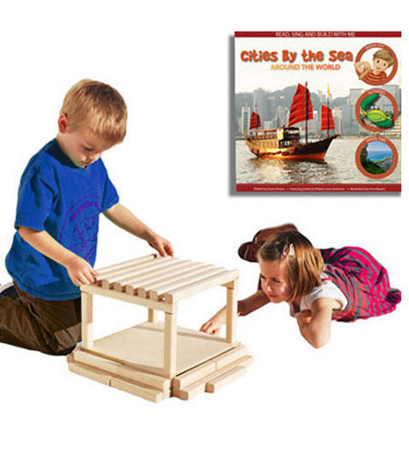 Block City Wooden Block Playset and Book