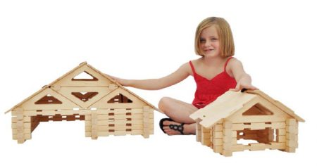 Cottage and Bridge Set Wooden Building Blocks