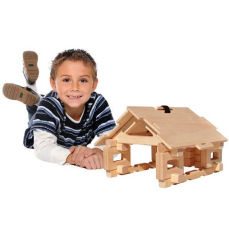 Wooden Cottage and Bridge Toy Set